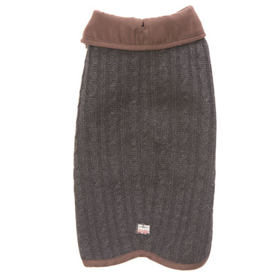 Вязаная нано куртка (свитер) Nano Knit Sweater Dog Gone Smart , цвет серый с коричневым (фото, вид 1)