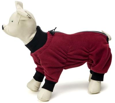 Osso комбинезон для собак из флиса NEW, для сук (цвет красный/бордо), ЗАСТЕЖКА МОЛНИЯ (фото, вид 3)