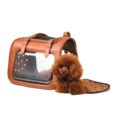 Ibiyaya складная сумка-переноска для кошек и собак до 6 кг Portico Deluxe Leather Pet Transporter, прозрачная с коричневой кожей (фото, вид 3)