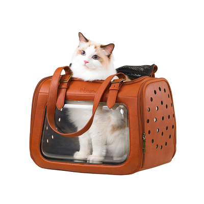 Ibiyaya складная сумка-переноска для кошек и собак до 6 кг Portico Deluxe Leather Pet Transporter, прозрачная с коричневой кожей (фото, вид 4)