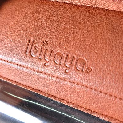 Ibiyaya складная сумка-переноска для кошек и собак до 6 кг Portico Deluxe Leather Pet Transporter, прозрачная с коричневой кожей (фото, вид 5)