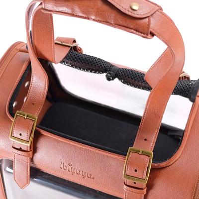 Ibiyaya складная сумка-переноска для кошек и собак до 6 кг Portico Deluxe Leather Pet Transporter, прозрачная с коричневой кожей (фото, вид 7)