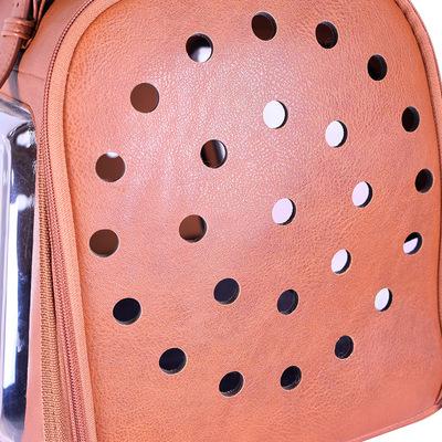 Ibiyaya складная сумка-переноска для кошек и собак до 6 кг Portico Deluxe Leather Pet Transporter, прозрачная с коричневой кожей (фото, вид 8)