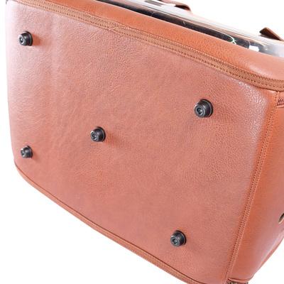 Ibiyaya складная сумка-переноска для кошек и собак до 6 кг Portico Deluxe Leather Pet Transporter, прозрачная с коричневой кожей (фото, вид 9)