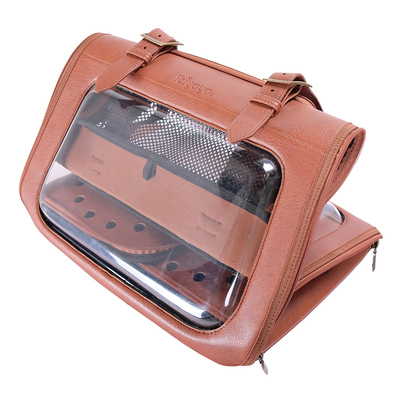Ibiyaya складная сумка-переноска для кошек и собак до 6 кг Portico Deluxe Leather Pet Transporter, прозрачная с коричневой кожей (фото, вид 10)