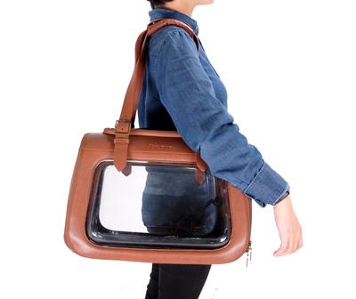 Ibiyaya складная сумка-переноска для кошек и собак до 6 кг Portico Deluxe Leather Pet Transporter, прозрачная с коричневой кожей (фото, вид 11)