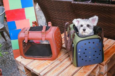 Ibiyaya складная сумка-переноска для кошек и собак до 6 кг Portico Deluxe Leather Pet Transporter, прозрачная с коричневой кожей (фото, вид 12)