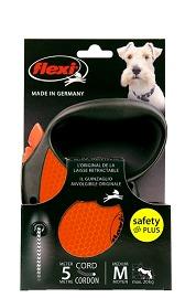 Flexi Limited Edition Neon Reflect M тросовый поводок-рулетка 5 м для собак до 20 кг, цвет оранжевый (фото, вид 1)