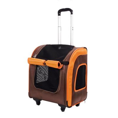 Ibiyaya многофункциональная тележка-трансформер (сумка-тележка-рюкзак) Liso для кошек и собак (Parallel Transport Pet Carrier), коричневая с оранжевым (Ибияйя) (фото, вид 1)
