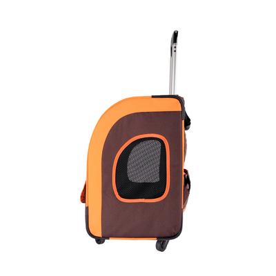 Ibiyaya многофункциональная тележка-трансформер (сумка-тележка-рюкзак) Liso для кошек и собак (Parallel Transport Pet Carrier), коричневая с оранжевым (Ибияйя) (фото, вид 2)