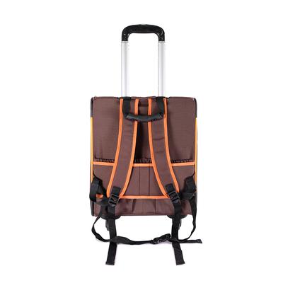 Ibiyaya многофункциональная тележка-трансформер (сумка-тележка-рюкзак) Liso для кошек и собак (Parallel Transport Pet Carrier), коричневая с оранжевым (Ибияйя) (фото, вид 3)