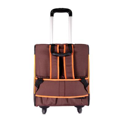 Ibiyaya многофункциональная тележка-трансформер (сумка-тележка-рюкзак) Liso для кошек и собак (Parallel Transport Pet Carrier), коричневая с оранжевым (Ибияйя) (фото, вид 7)