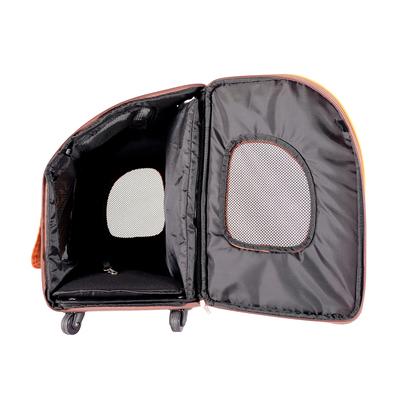 Ibiyaya многофункциональная тележка-трансформер (сумка-тележка-рюкзак) Liso для кошек и собак (Parallel Transport Pet Carrier), коричневая с оранжевым (Ибияйя) (фото, вид 8)
