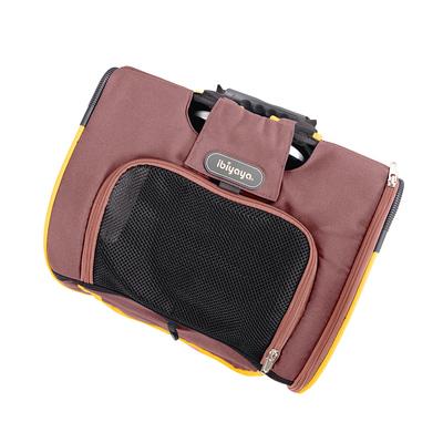 Ibiyaya многофункциональная тележка-трансформер (сумка-тележка-рюкзак) Liso для кошек и собак (Parallel Transport Pet Carrier), коричневая с оранжевым (Ибияйя) (фото, вид 10)