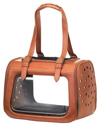 Ibiyaya складная сумка-переноска для кошек и собак до 6 кг Portico Deluxe Leather Pet Transporter, прозрачная с коричневой кожей (фото, вид 13)