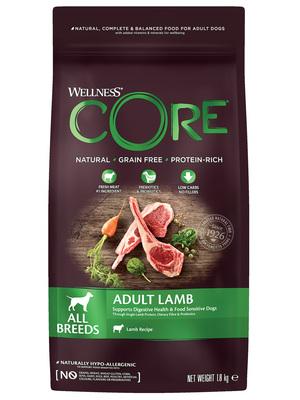 Welness Core сухой корм из ягненка с яблоком для взрослых собак всех пород (фото, вид 1)
