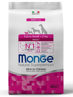 Monge Dog Extra Small корм для взрослых собак миниатюрных пород с курицей (фото, вид 1)