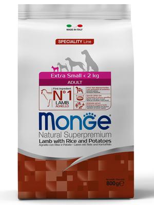 Monge Dog Speciality Extra Small корм для взрослых собак миниатюрных пород ягненок с рисом и картофелем (фото, вид 1)