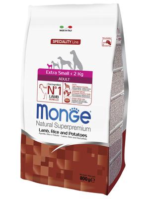 Monge Dog Speciality Extra Small корм для взрослых собак миниатюрных пород ягненок с рисом и картофелем (фото, вид 2)