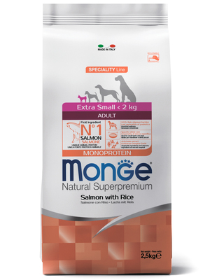 Monge Dog Monoprotein Extra Small корм для взрослых собак миниатюрных пород лосось с рисом (фото, вид 4)
