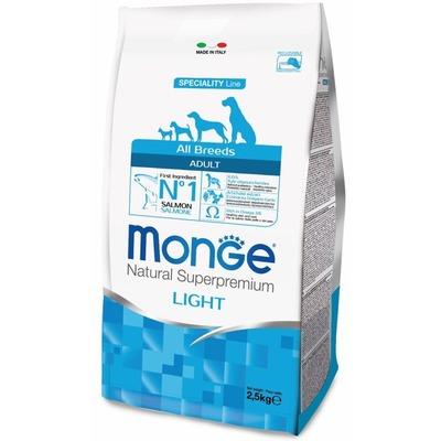 Monge Dog Speciality Light корм для собак всех пород низкоколорийный лосось с рисом (фото, вид 1)
