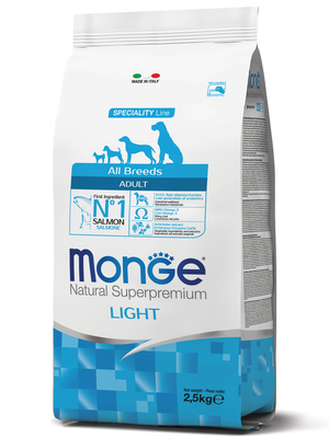 Monge Dog Speciality Light корм для собак всех пород низкоколорийный лосось с рисом (фото, вид 2)