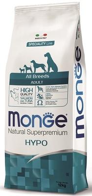 Monge Dog Speciality Hypo корм для взрослых собак гипоаллергенный лосось с тунцом (фото, вид 1)