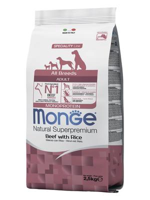Monge Dog Speciality корм для собак всех пород говядина с рисом Dog All Breeds Beef and Rice (фото, вид 2)