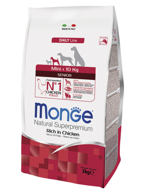 Monge Dog Mini корм для пожилых собак мелких пород с курицей и рисом, упаковка 3 кг (фото, вид 2)
