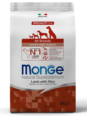 Monge Dog Speciality корм для щенков всех пород ягненок с рисом и картофелем (фото, вид 1)