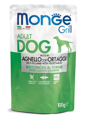 Monge Dog Grill Pouch для собак ягненок с овощами 100 г (фото, вид 1)