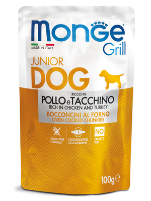 Monge Dog Grill PUPPY&JUNIOR Pouch паучи для щенков курица и индейка 100г (фото, вид 1)