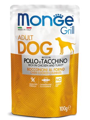Monge Dog Grill Pouch для собак курица с индейкой 100 г (фото, вид 1)