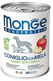 Monge Dog Monoproteino Fruits паштет из кролика с яблоками 400 г (фото, вид 1)