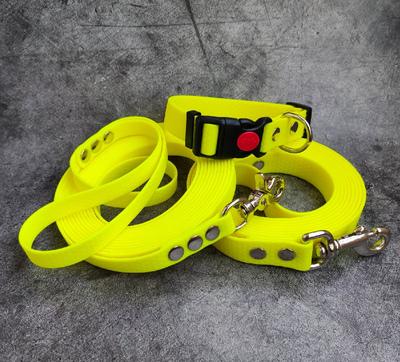 """R-Dog Поводок из мягкого биотана Гекса, стальной карабин """"клещи"""", цвет желтый неон (фото, вид 1)"""