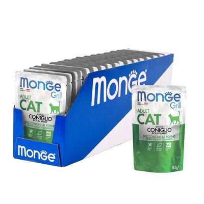 Monge Cat Grill Pouch паучи кусочки в желе из итальянского кролика для взрослых кошек 85г (фото, вид 1)