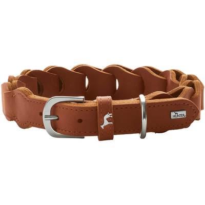 Ошейн Hunter Solid Education натуральная кожа, коричневый, размер 50, шея 34-42 см (фото, вид 1)