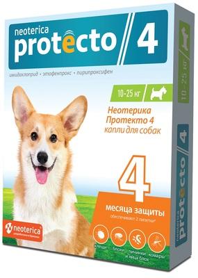 Neoterica Protecto Капли на холку для кошек и собак 10-25 кг, от клещей, блох и их личинок, комаров, 2 шт. в уп. (Неотерика Протекто)
