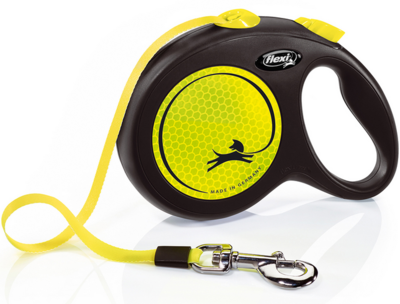 Flexi Neon New Classic L ременной поводок-рулетка 5 м для собак до 50 кг (фото)