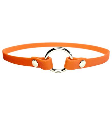 R-Dog Тонкий ошейник из биотана для адресника, цвет оранжевый неон