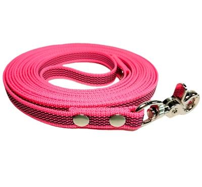 R-Dog прорезиненный нейлоновый поводок (с латексной нитью), стальной карабин клещи, цвет розовый неон