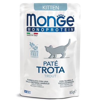 Monge Cat Monoprotein паучи для котят и беременных кошек из форели 85 г (фото)