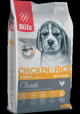 Blitz сухой корм для щенков всех пород с курицей Blitz Classic Chicken & Rice Puppy All Breeds (фото)