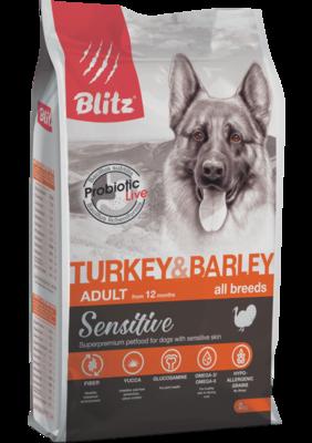 Blitz сухой корм для взрослых собак всех пород с индейкой и ячменем BLitz Sensitive Turkey & Barley Adult Dog All Breeds (фото)
