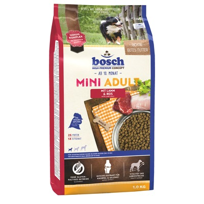 Bosch Mini Adult Lamb & Rice, сухой корм для собак мелких пород, ягненок и рис