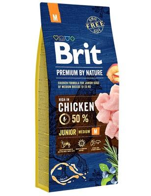 Brit Premium by Nature Junior M полнорационный корм для щенков и молодых собак средних пород (10–25 кг)