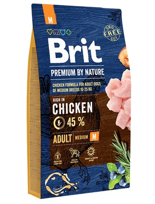 Brit Premium by Nature Adult M полнорационный корм для взрослых собак средних пород (10–25 кг)