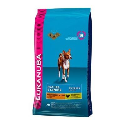 Eukanuba Mature & Senior Small & Medium для пожилых собак мелких и средних пород с курицей, 15 кг