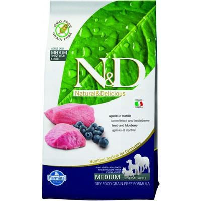 FARMINA N&D беззерновой корм для собак мелких пород Ягненок с Черникой мини (N&D Lamb & Blueberry Adult)
