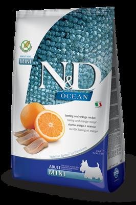 FARMINA N&D OCEAN беззерновой корм для собак мелких пород Рыба (сельдь) с Апельсином мини (N&D Fish & Orange Adult)